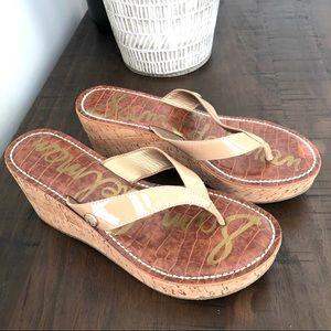 Sam Edelman Beige Platform Sandals Like New